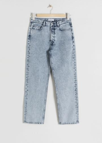 Other Stories Straight Mid Rise Jeans - Turquoise
