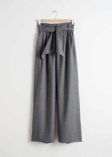 Other Stories Belted Wool Blend Trousers - Grey