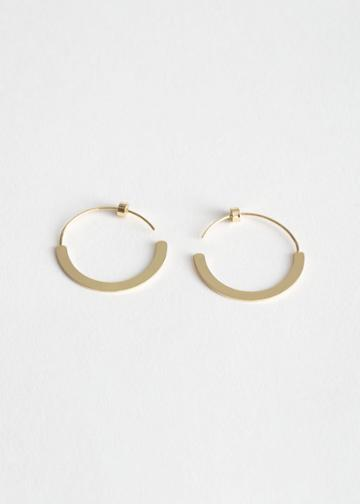 Other Stories Flat Disc Hoop Earrings - Gold