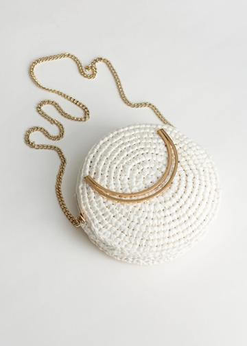 Other Stories Woven Straw Crossbody Bag - White
