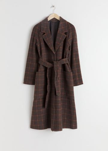 Other Stories Belted Wool Blend Check Coat - Brown