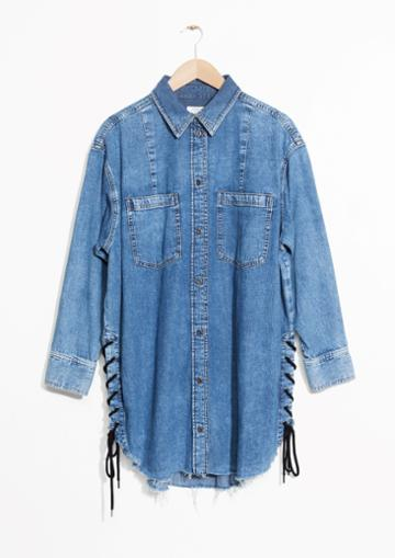 Other Stories Lace-up Denim Dress
