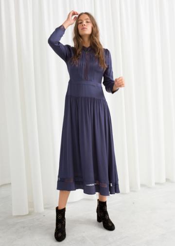 Other Stories Lace Ribbon Midi Dress - Blue