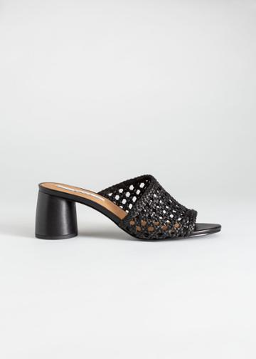 Other Stories Woven Leather Heeled Sandals - Black