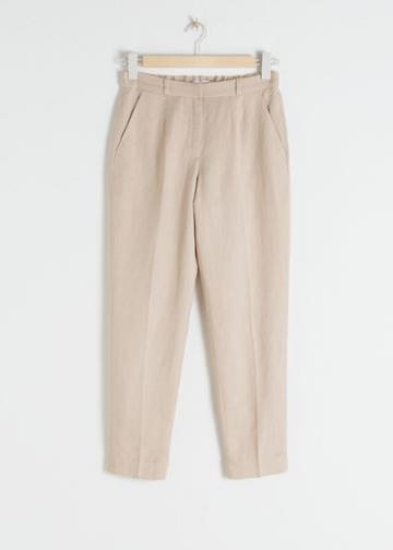 Other Stories Tapered Cotton Trousers - Beige