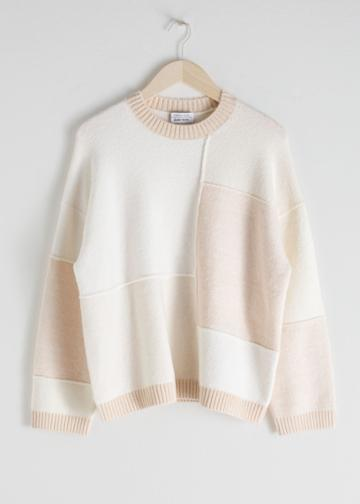 Other Stories Oversized Cotton Blend Patchwork Sweater - White