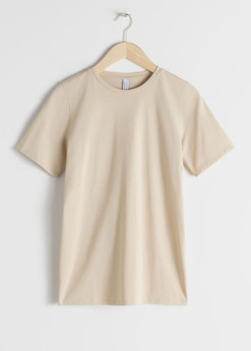 Other Stories Crewneck Organic Cotton Tee - Beige