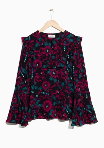 Other Stories Wide Sleeve Frilled Blouse