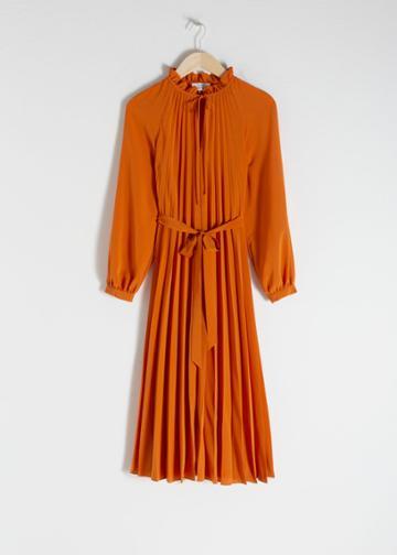 Other Stories Pleated Midi Dress - Orange
