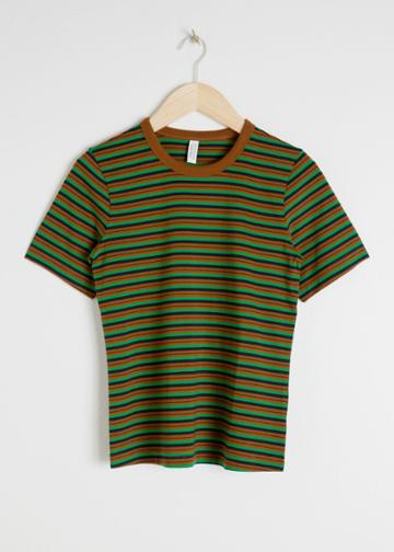 Other Stories Cotton Striped Ringer Tee - Green