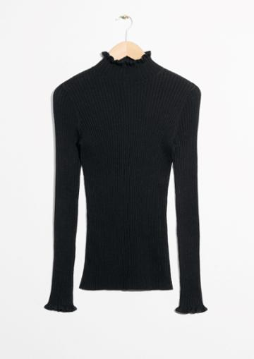 Other Stories Ruffles And Ribbed Turtleneck