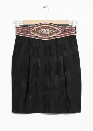 Other Stories Embellished High Waisted Mini Skirt
