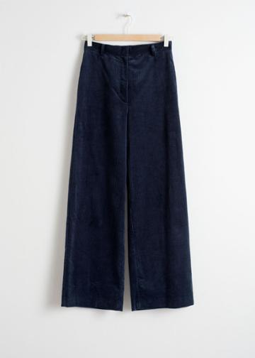 Other Stories High Waist Wide Corduroy Trousers - Blue