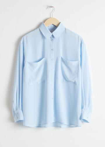 Other Stories Oversized Silk Shirt - Blue