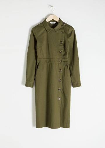 Other Stories Cotton Utilitarian Midi Dress - Green