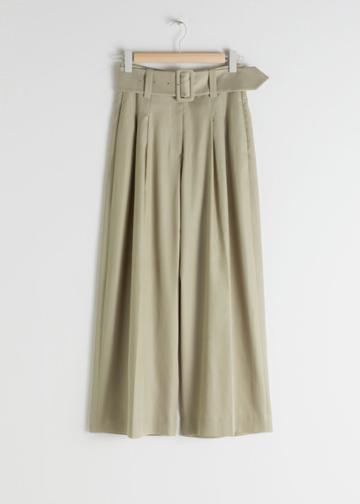 Other Stories High Waisted Belted Flare Trousers - Beige
