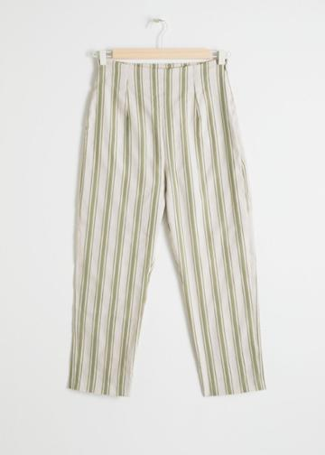 Other Stories Linen Blend Cropped Trousers - Green