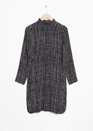 Other Stories Mock Neck Splatter Print Dress
