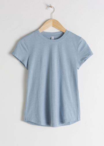 Other Stories Cotton Blend Tee - Turquoise
