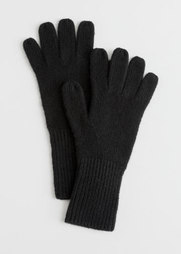 Other Stories Soft Knit Gloves - Black