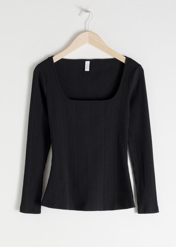 Other Stories Fitted Square Neck Top - Black
