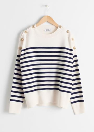 Other Stories Stripe Knit Sweater - White