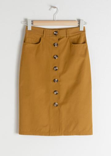 Other Stories Cotton Twill Workwear Skirt - Yellow