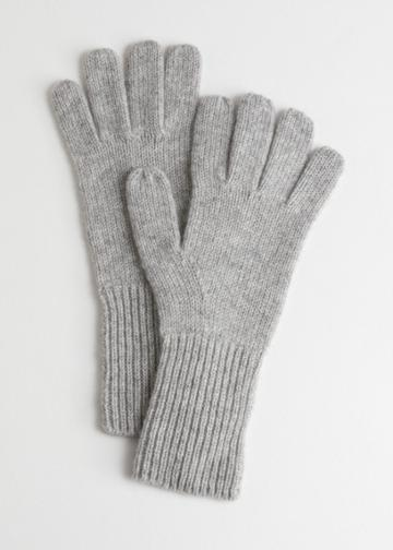 Other Stories Soft Knit Gloves - Grey