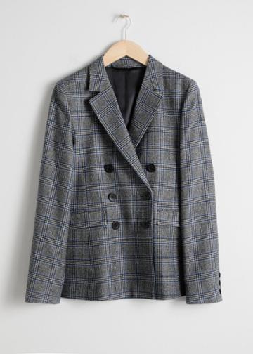 Other Stories Wool Blend Plaid Blazer - Grey
