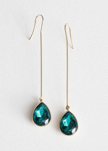 Other Stories Pendant Crystal Earrings - Green