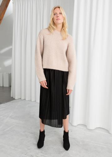 Other Stories Asymmetric Metallic Pleated Midi Skirt - Black