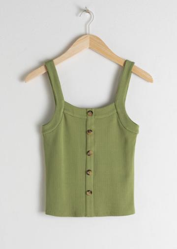 Other Stories Ribbed Tank Top - Green