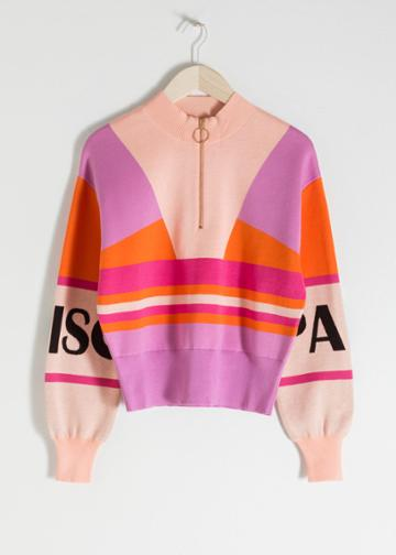 Other Stories Colourblock Zip Pullover - Pink