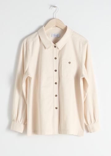 Other Stories Cotton Twill Workwear Shirt - White
