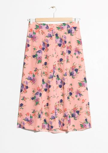 Other Stories Floral Print Midi Skirt