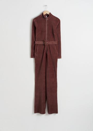 Other Stories Belted Corduroy Jumpsuit - Brown