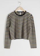 Other Stories Cropped Striped Cotton Top - Black