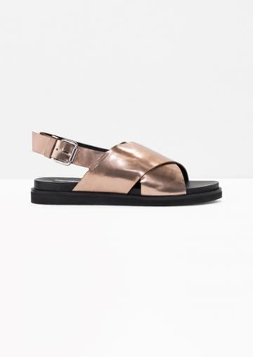 Other Stories Cross Strap Leather Sandals