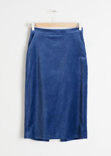 Other Stories Velvet Midi Pencil Skirt - Blue