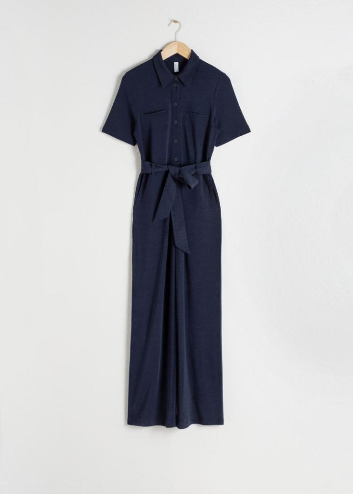 Other Stories Belted Pinstripe Jumpsuit - Blue