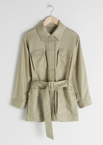 Other Stories Oversized Belted Workwear Jacket - Beige