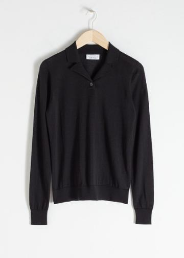 Other Stories Merino Wool Polo Top - Black