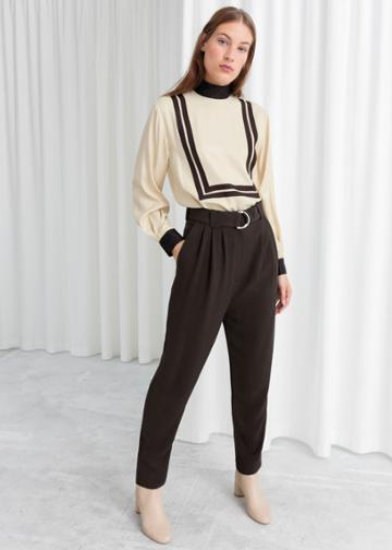 Other Stories Belted Tapered Trousers - Brown
