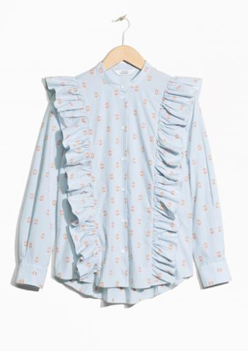 Other Stories Frills Blouse With Button Closure