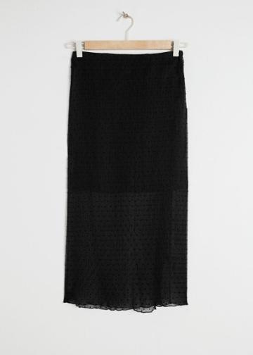 Other Stories Sheer Crepe Polka Dot Midi Skirt - Black