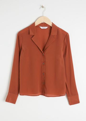 Other Stories V-cut Silk Button Down Blouse - Orange