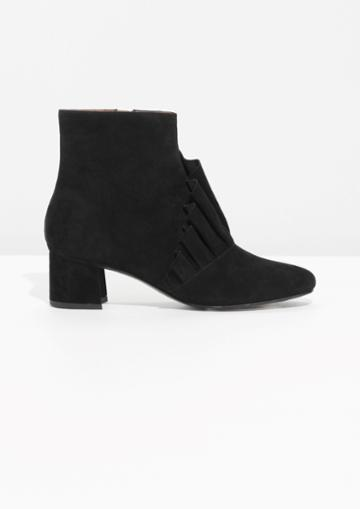 Other Stories Frill Suede Ankle Boots