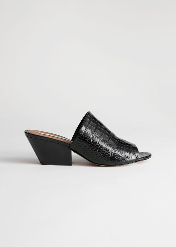 Other Stories Open Toe Patent Croc Mules - Black