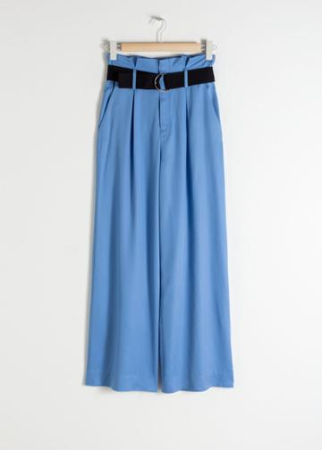 Other Stories Belted Lyocell Trousers - Blue