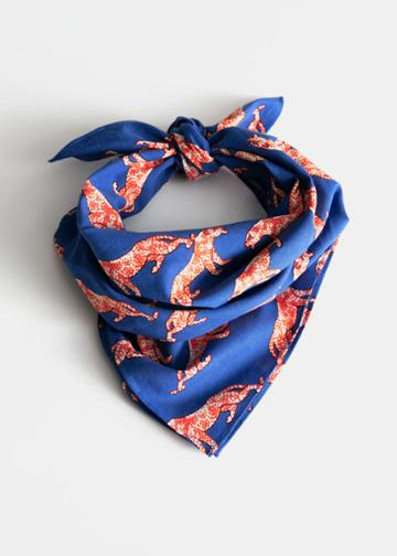 Other Stories Cotton Tiger Print Scarf - Blue